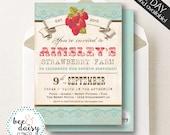Vintage Strawberry Invitation, Strawberry Birthday Invitation, Strawberry Party, Girl First Birthday, Girl Birthday, Strawberry Invite
