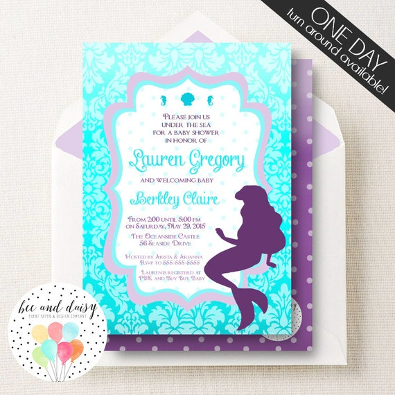 little mermaid party invite girls baby shower ariel inspired shower