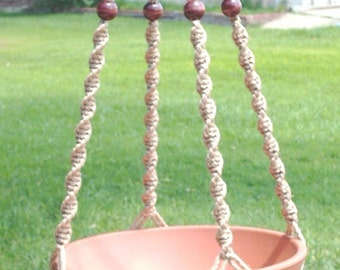 MACRAME Plant Hanger 52in Deluxe Style with BEADS - Sand Cord (Choose Color)