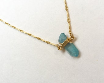 Aqua Aura Quartz Necklace-gold dainty necklace, gemstone pendant, boho necklace, boho jewelry, layering jewelry