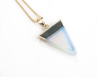 Opalite Triangle Necklace-opal pendant, triangle necklace, dainty necklace, gold layering necklace,
