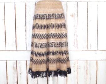 Vintage brown/black striped tribal print mohair fringe skirt/long boho/hippie festival Indian skirt