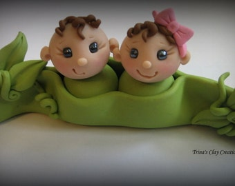 Baby Shower Cake Topper, Custom Cake Topper, Two Peas in a Pod, Polymer Clay, Keepsake