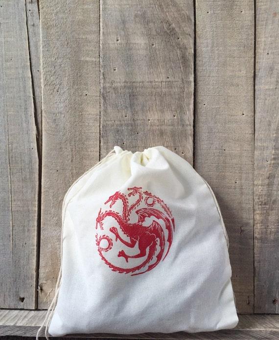 House Targaryen Inspired 10 x 12 Project Bag - Knitting Bag - Crochet Bag - Game of Thrones - Fire and Blood - Dragon - House Sigil