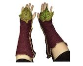 Pair burgundy green arm warmers woodland leaf leave tree of live thumb hole