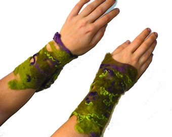 Pair felted purple/green bohemian colorful arm warmers