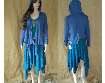 M-L vest pointy fairy woodland top ruffled blue hooded