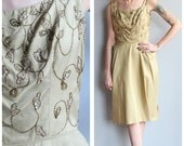 1950s Dress // Gold Shimmer Party Dress // vintage 50s dress