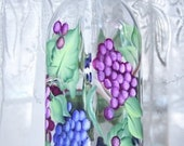 Oil Vinegar Bottle with Hand Painted Red Blue Grapes large