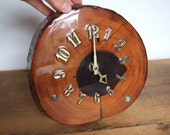 Vintage Wood Slice Clock with Turquoise Detail