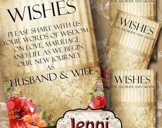 JENNI• Set of Wedding Wish Sign and Tags•Wish Tree Cards•Wedding Wish Tags•Wish Tags•Bridal Shower•Wedding Shower•Country Wedding