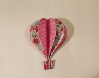 "3d Hot Air Balloon -     5"" pink polka dot soft blue floral"