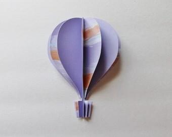 "3d Hot Air Balloon -  5""  shades of lavender, purple, orange stripes watercolor effect"