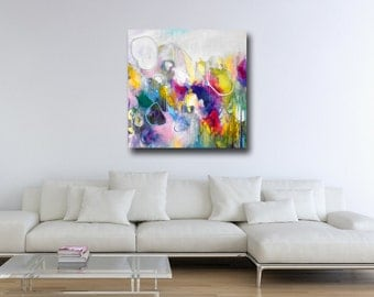 Giclee Print of Large Abstract Painting, Wall Art, Modern Canvas Print, Expressive Art, Canvas Art, Pink, Green,Yellow, Blue, Abstract Art