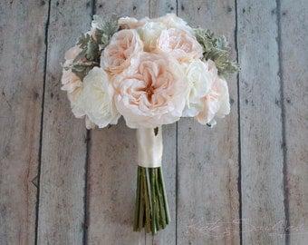 Blush Pink Bouquet, Garden Rose Bouquet, Wedding Bouquet, Silk Bouquet, Garden Rose Wedding Bouquet with Dusty Miller
