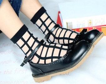 Transparent Black Grid Socks