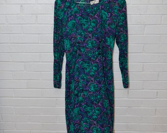 Vintage Floral Green Purple Knee Length Dress
