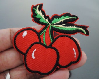 Cherry Patches - Iron on Patches or Sewing on Patch Red Patches Embroidered Patch Cherry Fruit Embellishment