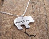 Mother Bear Necklace, Mother Grizzly Bear, New Mom Necklace, Fine Silver, Sterling Silver Chain, Made To Order