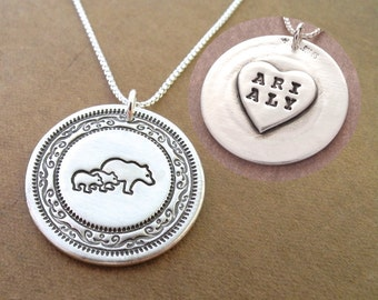 Personalized Mother and Twin Bear Necklace, Mom and Two Children, Heart Oval Monogram, Fine Silver, Sterling Silver Chain, Made To Order