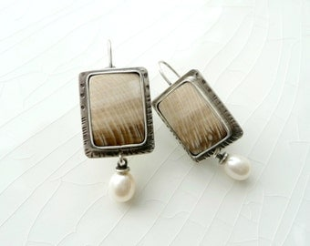 Texas Palm Wood and Pearl Earrings - Petrified Wood and South Sea Pearls, Dangle, Drop, Sterling Silver, Hand Crafted, OOAK
