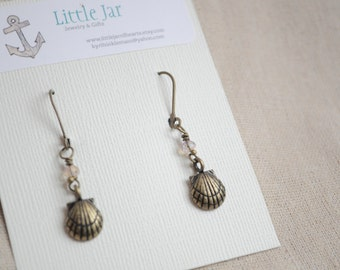 Wire wrapped boho beach earrings, Shell earrings, bronze and czech glass, seashell earrings