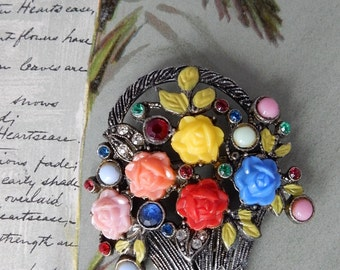 Colorful 1920s Czech Flower Basket Brooch Pot Metal    NBU11