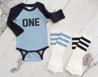 Baby Boy 1st Birthday ONE Bodysuit and Football Striped Leg Warmers.  Althletic Jersey, Football Party, Green, Baby Blue, Navy Blue. Half .5