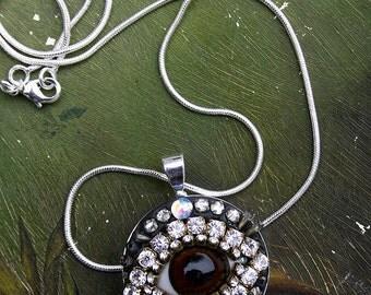 Inner Eye Necklace Antique Glass Eye Vintage Rhinestones Crystals Rhinestones Mosaic Pendant Funky Fun Jewelry Lover's Eye, Art to Wear