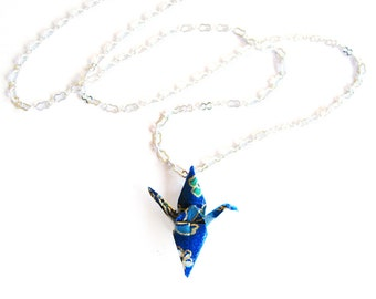 Origami Crane Necklace Dark Blue Peace Crane Necklace