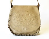 Cream tooled leather handbag, rose design, whip-stitched edges | embossed 70s boho shoulder bag | vintage hippy purse floral artisan worked