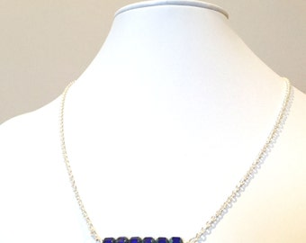 Cobalt Blue Bead Necklace, Sterling Silver w/Cobalt Blue Bead Necklace, Cobalt Blue Bead Silver Necklace, Sterling Silver Bar Necklace