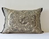 Hand Painted Madhubani Pillow , Folk Art on Black & Beige Rectangle Pillow Cover , Natural Khadi Silk and Black hand Painted Cushion Cover