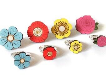 Flower rings ~ hand painted