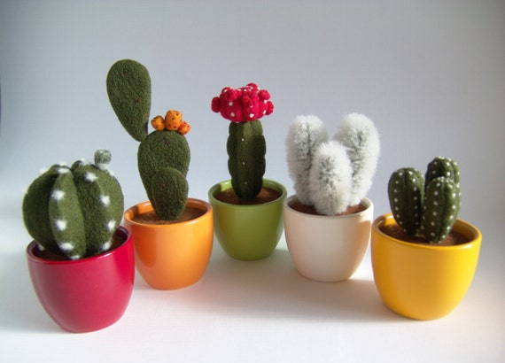 Https Www Etsy Com Listing 267048832 Cactus Plant Home Decor Gift Needle