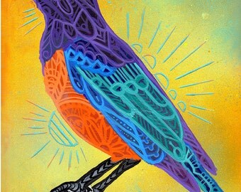 Starling Bird Zentangle Art Print