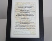 Mother Teresa Anyway Poem Print with Vintage Map Background in 5 x 7 Frame