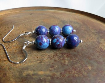 Kingman mohave purple turquoise earrings . STACKED NEBULA . sterling silver earrings . December birthstone earrings . purple earrings . love