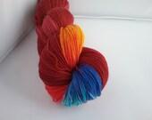 Maroon Multi hand dyed 100% BFL fingering/4ply/sock yarn