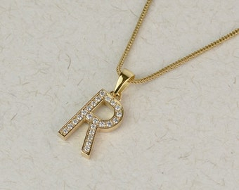 Diamond initial necklace - Available in Solid Gold and Platinum