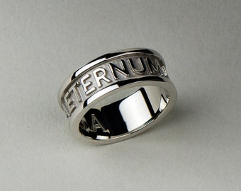 Men's wedding band. Available in Solid Gold and Platinum. Custom Name, Date, Symbol, Number. Wedding and Anniversaries