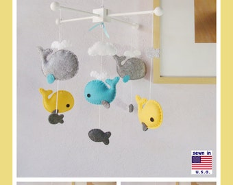 Baby Crib Mobile, Baby Mobile, Whale Mobile, Whale Nursery Decor, Sunflower Aqua Granite Smoke Gray , Match Bedding Mobile