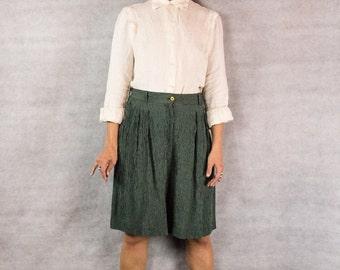 80s/90s Long Jade Stripe Trouser Shorts///size 10