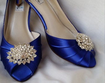 Wedding Shoes Kitten Heel Blue Wedding Shoes Sparkling Crystal Oval Brooch Peep Toe Wedding Shoes Blue Bridal Shoes Additional Colors
