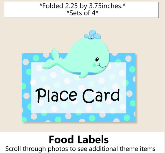 Baby boy WHALE Baby Shower PLACE CARD or Food Label or Whale ...
