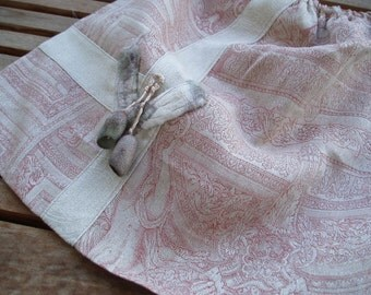 Exquisite RING bag made of linen in old Rosé