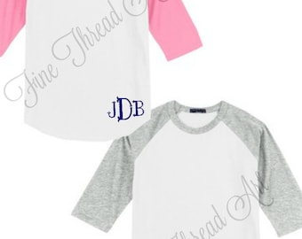 Hem Monogram Baseball Tee TShirt Raglan Sleeve Shirt Team Colors Little League Mom Plus Size Available