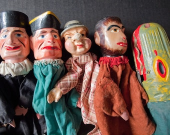 "Antique Punch and Judy Puppet Set With Stage and 10 Puppets, made by ""FAO Swartz Germany"" in 1890's"