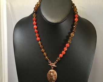Carnelian Necklace with Locket/Pendant and Earrings