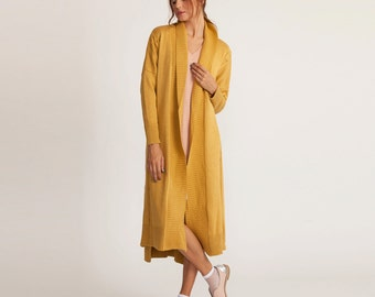 Mustard maxi sweater, knitted jacket, extra long cardigan, long sleeves cardigan, winter coat, open sweater,  loose fit